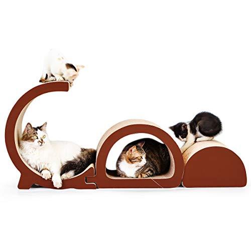 Siweite Cat Scratcher Lounge, Cat Scratch Post Corrugated Cat Scratcher Cardboard Bed Sofa Scratching Pad 3 in 1 GD Letter Design House Furniture Construction with Catnip For Sale