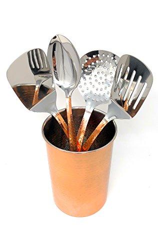 "Home Essentials 5-Piece Copper Finish Hammered Utensil Crock Tool Set (7"" x 5"")"