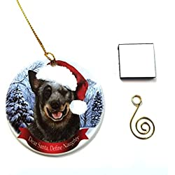 "Australian Cattle Dog Christmas Ornament 3"" Porcelain Gift-Boxed with Tree Hook and Magnet Pet Holiday Decoration Bundle by Imprints Plus (HO 004)"
