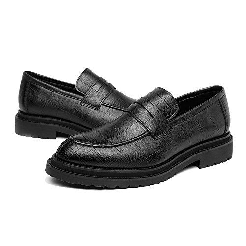 Hommes Texture amp;Baby Richelieus Résistant Noir Sport de pour Enfiler de Carrée en Mocassins Chaussures à Sunny Cuir PU Classiques L'Abrasion à q8dnxZqO1