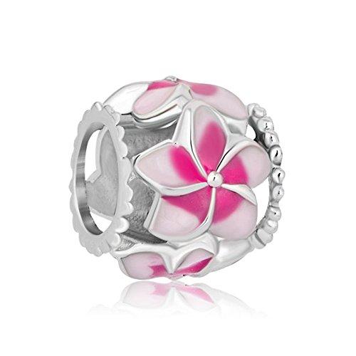 LovelyJewelry Enamel Pink Open Petal Flower Beads For Bracelet