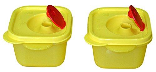 (Tupperware Crystal Wave Mini Square Plastic Bowl Set, 2-Pieces)