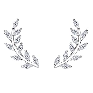 EVER FAITH 925 Sterling Silver Cubic Zirconia Leaf Ear Cuff Wire Wrap Sweep Hook Earrings Clear 1 Pair