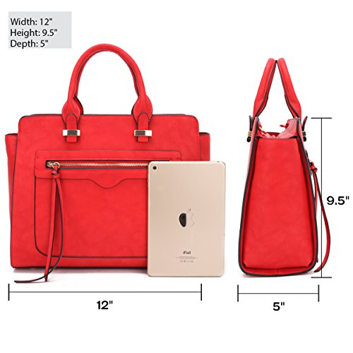 bbb8152d4a Amazon.com  Dasein Women Vegan Leather Handbag Designer Purse Satchel Bag  with Crossbody Strap  Shoes