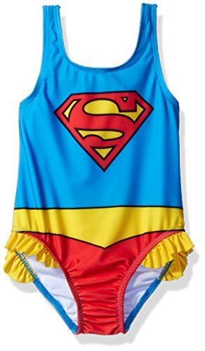 Warner Bros. Girls' Supergirl Toddler Swimsuit, Red, 2T -