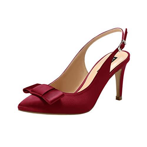 ERIJUNOR E2415 Pointy Toe Pumps Mid Heels Wedding Evening Party Prom Slingback Satin Shoes Burgundy Size 9