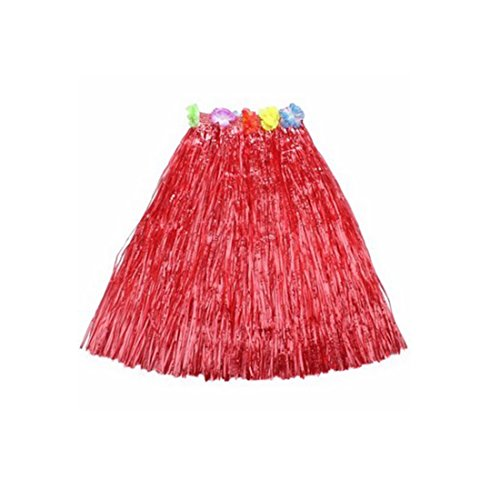 [Kid's Plastic Luau Hula Skirts Floral Waistbands Party Skirts Artificial Grass (Red)] (Tahitian Dancers Costumes)