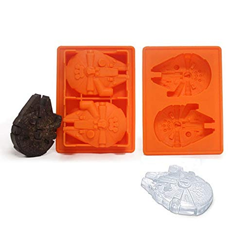 (1 piece Falcon Millenium Ship Star Wars Ice Tray Silicone Cocktails Ice Cube Cookies Chocolate Suger Baking Kitchen Tool Fondant Mould)