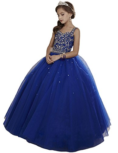 HuaMei Girls Princess Tulle Beaded Straps Ball Gowns Flower Girl Pageant Dresses 10 US Royal Blue (Ball Gown For Girls)