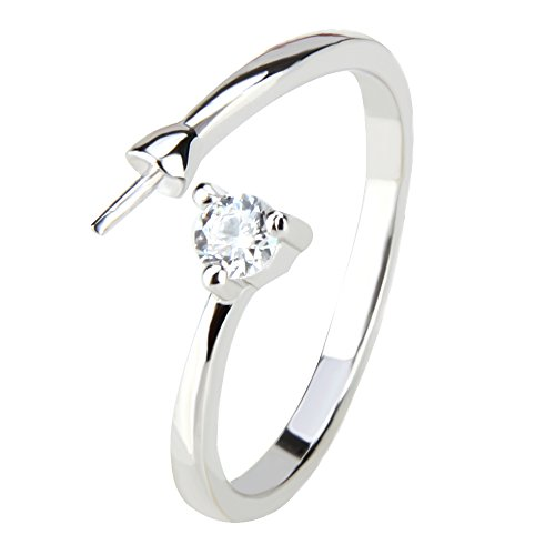 2PCS Adjustable 925 Sterling Silver Simple Style Pearl Ring Fitting/Accessories/Mounting ()