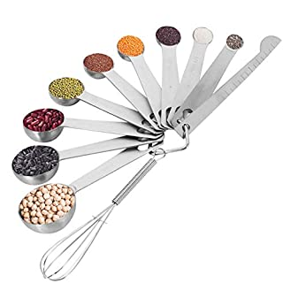 tiopeia Stainless Steel Measuring Spoons, Set of 11 Includes 9 Measuring Spoons Leveler and Whisk for Measuring Dry and Liquid Ingredients