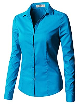 EZEN Womens Long Sleeve Stretchy Button Down Collar Office Formal Casual Shirt Blouse