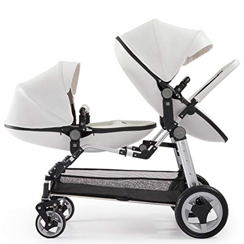 ZZLYY Double Baby Stroller by – Twin Lightweight Infant Stroller with Carry Handle – Silver Frame and Black – Tandem Seats – from Newborn to Toddlers,White