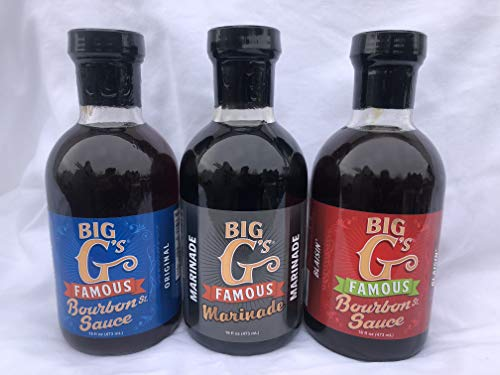 Marinade Spicy Butter (Big G's Famous Bourbon Sauce & Marinade Bundle - Original & Blazing Flavor Plus Big G's Famous Marinade, Award Winning, Great with Everything! Special Unique Recipe - Instant Winner, (3-16oz Bottles))