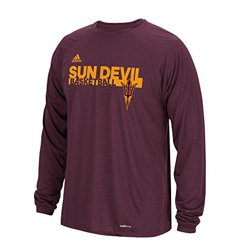 Basketball S/s Tee (adidas NCAA Arizona State Sun Devils Mens Sideline Grind Climalite L/S Teesideline Grind Climalite L/S Tee, Maroon, Medium)