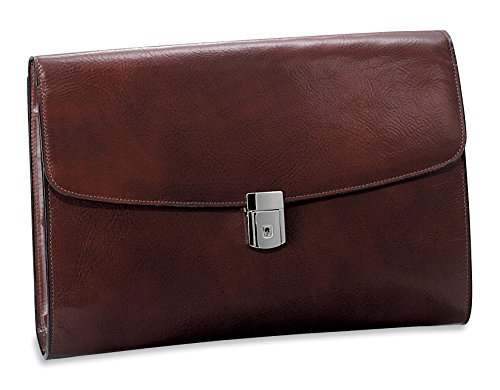 CrookhornDavis Men's Hand Stained Italian Leather Underarm Briefcase, Cognac - Underarm Leather Briefcase