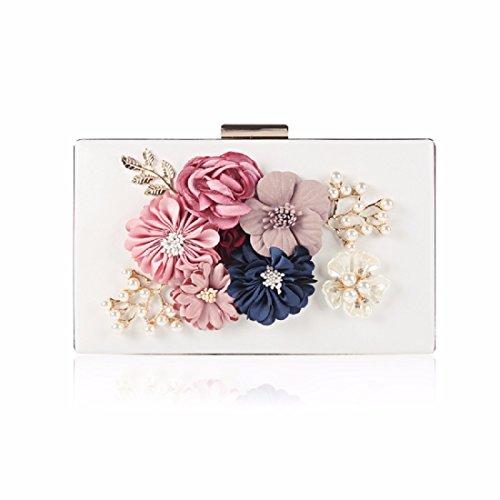 Blanco bolso de coreana perla bolso de Bolso hombro bolso folleto bolso banquetes cena version hombro bolso bolso De gules la flores de de XJTNLB wgUfqw