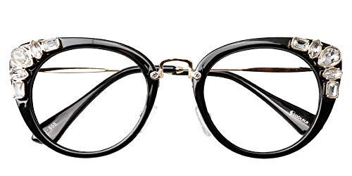 b748cb2eae75 SOOLALA Womens Luxurious Colorful Rhinestone Cateye Reading Glasses  Eyeglass Frame