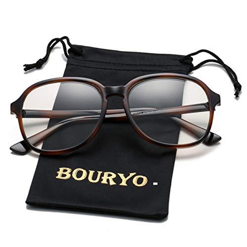 (BOURYO Unisex Stylish Non-prescription Glasses Square Candy Colored Frame Clear Lens Hip Hop Eyeglasses(Tortoise))