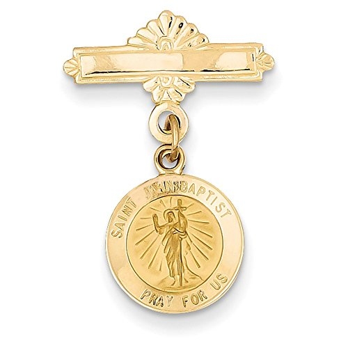 Lex & Lu 14k Yellow Gold Saint John the Baptist Medal ()
