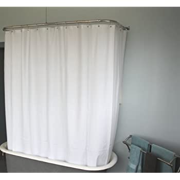 DL Extra Wide Vinyl Shower Curtain For A Clawfoot Tub White With Magnets 180