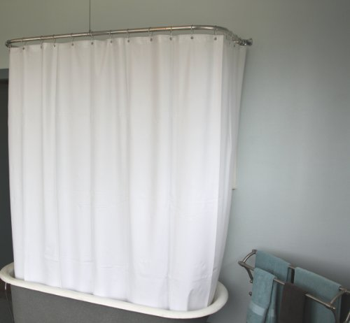 D&L Extra Wide Vinyl Shower Curtain for a Clawfoot Tub/white with Magnets 180