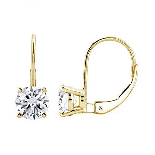 14k Gold Diamond Solitaire Earrings (JewelMore 0.30 CTW Round White Diamond Leverback Earrings in 14K White Gold Solitaire Diamond Earrings (H-I/I1-I2) (Yellow Gold))