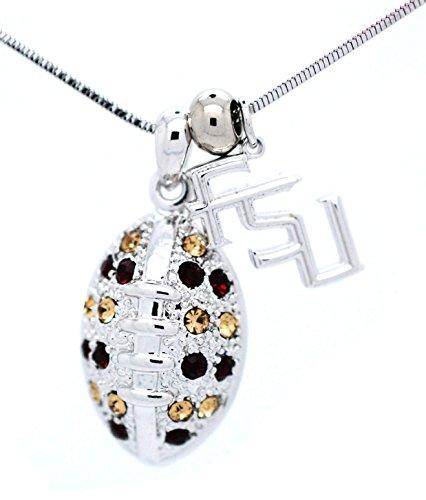 Fsu Seminoles Pendant (Florida State FSU Football Necklace - Large - Garnet and Gold - SEMINOLES)