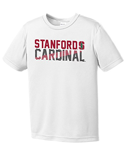(NCAA Stanford Cardinal Youth Boys Diagonal Short sleeve Polyester Competitor T-Shirt, Youth X-Large,White)