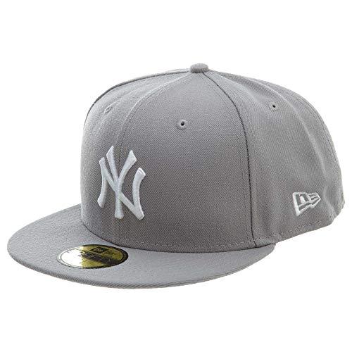New Era Men's Hat New York Yankees MLB Basic Gray Fitted Cap 11591125 (7 1/4)