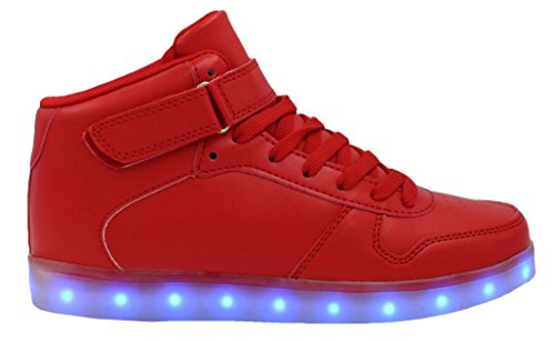 Transformania Toys Galaxy LED Shoes Light Up USB Charging High Top Lace & Strap Sneakers Red
