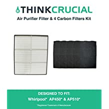 1 Whirlpool 1183054K HEPA Filter & 4 Odor Neutralizing Carbon Pre Filters, Designed to Fit Whispure Air Purifier, Compare to Part # 8171434K, 1183054, 1183054K, 1183054K Large, 1183054K Grand Format, Designed & Engineered by Crucial Air