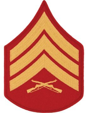 USMC Chevron Gold on Red (Pair) (Male, Sergeant) (Marine Corps Chevron)