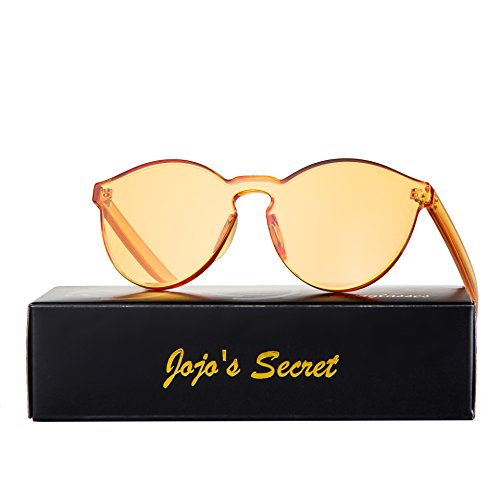 JOJO'S SECRET One Piece Rimless Sunglasses Transparent Candy Color Eyewear JS017 (Transparent&Orange, - Shades Orange