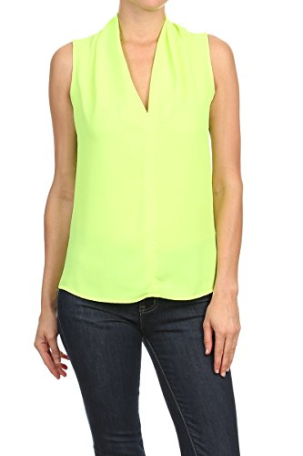 - ReneeC. Women's Basic Solid V Neck Sleeveless Draped Chic Tank Blouse Top (Small, Lime)