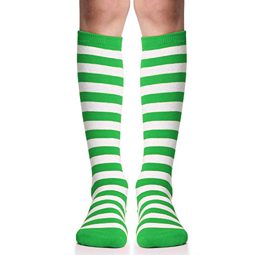 juDanzy Knee High Socks With Grips for Babies, Toddlers & Children (one pair) (6+ Years, Green and white stripe)]()