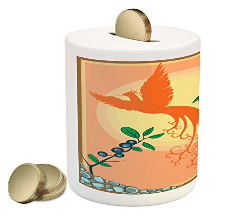 Birds Piggy Bank by Lunarable, Silhouette of Mystic Phoenix Bird Flying Over Sun Grape Leaves Magic Fearthers Art, Printed Ceramic Coin Bank Money Box for Cash Saving, Multicolor (Phoenix Suns Pool)