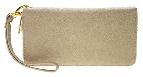 PROYA Women's Double Zip Around PVC Leather Wristlet Clutch Organizer Wallet (Beige Fabric Wallet)