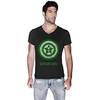 Creo Black Cotton V Neck T-Shirt For Men