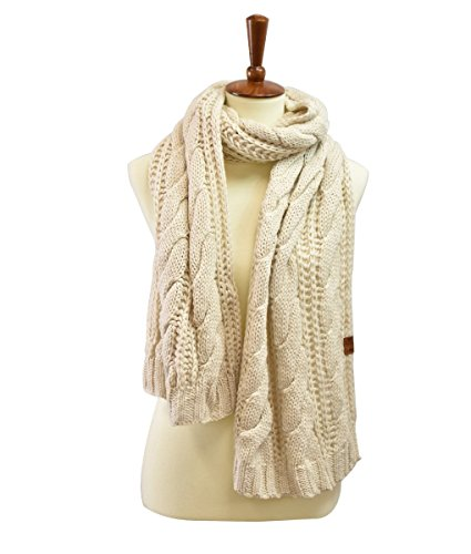 Scarf Cable Knit Long (Long Cableknit Oblong Scarf)