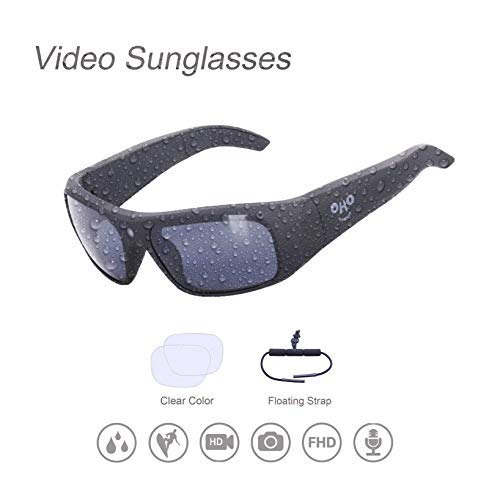 OHO sunshine Waterproof Video Sunglasses,128G Ultra 1080P HD Video Recording Camera and Polarized UV400 Protection Safety Lenses,Unisex Design