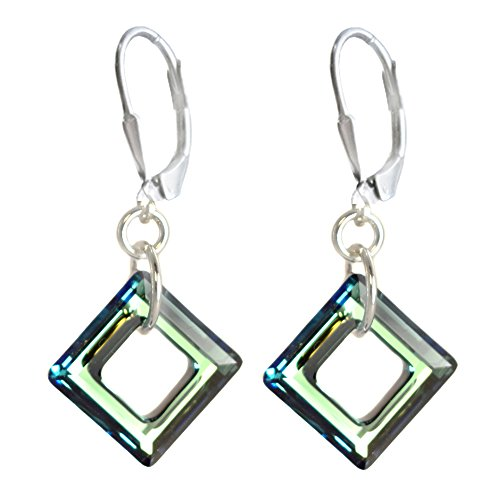 14mm Earrings Made with Swarovski Crystal Elements Cosmic Square Ring. Bermuda Blue Colored
