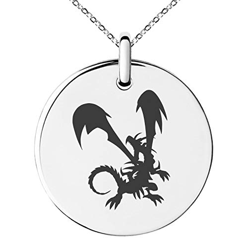 - Tioneer Yu-Gi-Oh! Red-Eyes Black Dragon Silhouette Stainless Steel Small Medallion Circle Charm Pendant Necklace