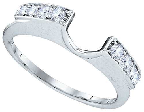 Roy Rose Jewelry 14K White Gold Womens Round Natural Diamond Ring Guard Wrap Solitaire Enhancer 1/4-Carat tw