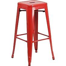 Flash Furniture 30'' Backless Red Metal Bar Stool