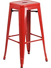 Flash Furniture 30'' High Backless Red Metal Indoor-Outdoor Barstool with Square Seat