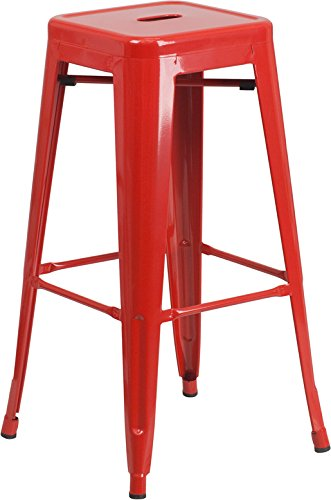 Flash Furniture 30'' High Backless Red Metal Indoor-Outdoor Barstool with Square Seat (Sale Red Kitchen Chairs)