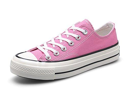 Honeystore Unisexs Schnürung Leinwand Schuhe Sneakers Turnschuhe Freizeitschuhe Flache Low-Cut Sneaker Übergrößen Denim Flandell Rosa