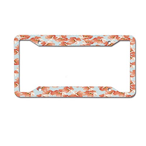 Personalized License Plate Frame Metal, Soft Pastel Poppy Flowers on Chevron Zigzag Backdrop License Plate Covers for Women Men, Cute Car Tag Frame