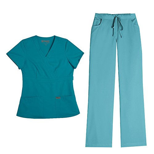 Grey's Anatomy Women's Mock Wrap Top 4153 & Drawstring Pant 4232 Scrub Set (Teal - Medium) by Barco